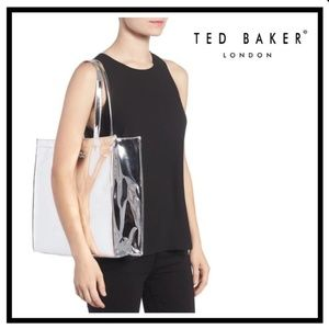 NWT Ted Baker London Silver Metallic Tote